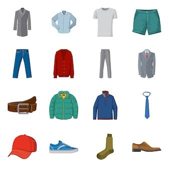 Geïsoleerde object van man en kleding symbool. set van man en slijtage stock symbool voor web.