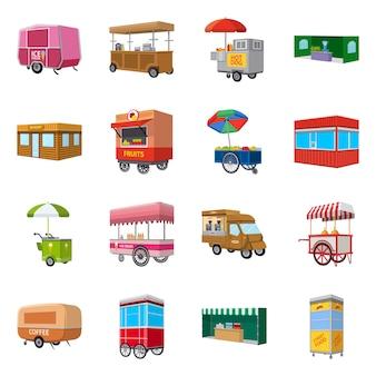 Geïsoleerde object van stand en kiosk pictogram. set van stand en kleine voorraad symbool voor web.