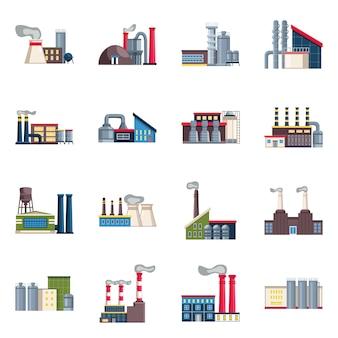 Geïsoleerde objecten industrie en plant. stel industrie en constructie in