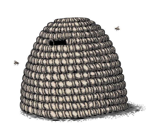 Geïsoleerde oude stijl handgetekende stro bijenkorf en twee bijen