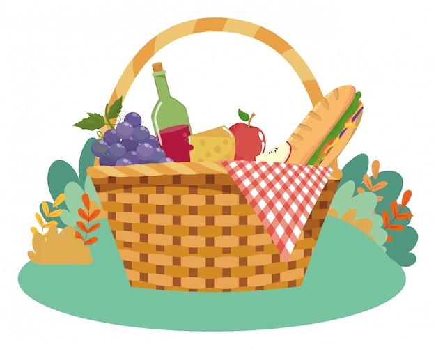 Geïsoleerde picknickmand vectorillustrator