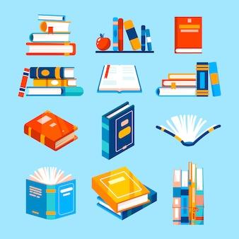 Geïsoleerde pictogrammen over het lezen van boeken.