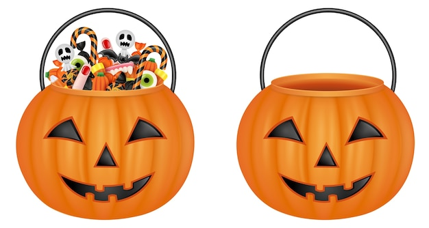 Geïsoleerde pompoenemmers. lege emmer en emmer met halloween-snoepjes