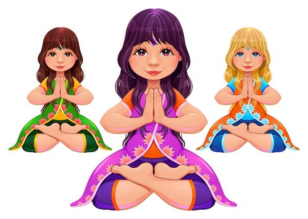 Geïsoleerde positie van de yogalotusbloem vartoon vector cartooncharacters in verschillende haar en kleding kleuren