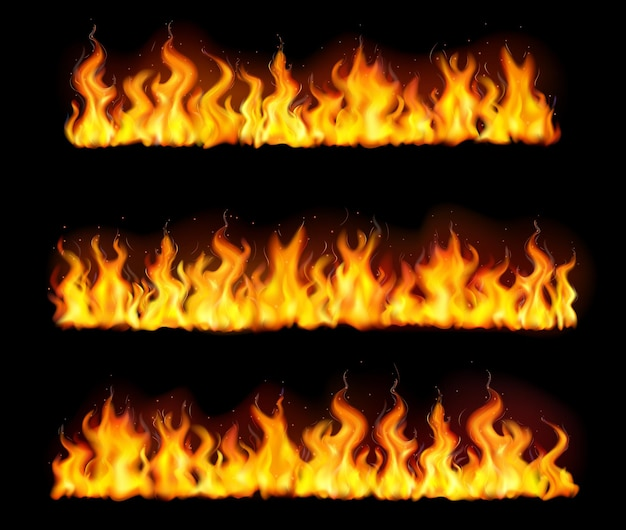 Geïsoleerde realistische vuurvlam grenst icon set met drie lange lange pijlers van vuur illustratie