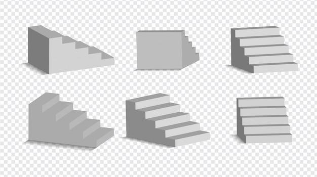Geïsoleerde reeks 3d witte treden. architecturale witte trappen, stappen collectie voor interieur illustratie