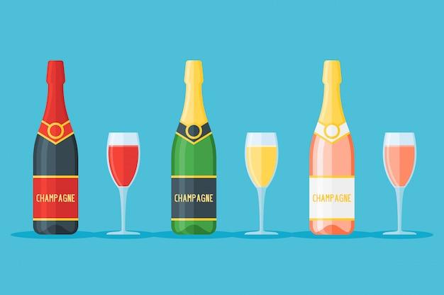 Geïsoleerde reeks flessen en glazen champagne. mousserende rode, witte en rose wijnen. vlakke stijl illustratie.