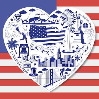 Geïsoleerde reeks met americanicons en symbolen in vorm van hart