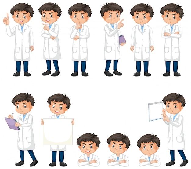 Geïsoleerde reeks van jongen in wetenschapstoga