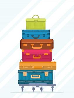 Geïsoleerde reis kleurrijke gestapelde koffers
