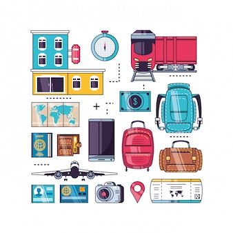Geïsoleerde reizen icon set