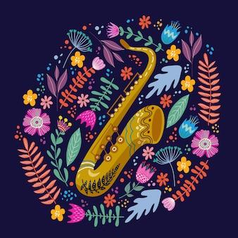 Geïsoleerde saxofoon en heldere tropische bladeren en bloemen. hand tekenen folk platte doodles