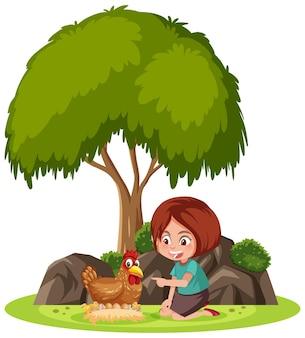 Geïsoleerde scène met een meisje dat met een kip speelt