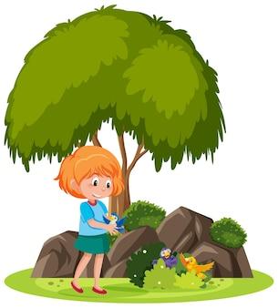 Geïsoleerde scène met een meisje dat met veel vogels speelt