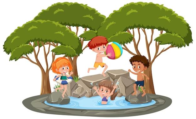 Geïsoleerde scène met kinderen die bij de vijver spelen