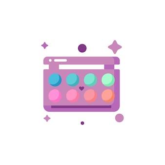 Geïsoleerde schattige kleurrijke oogschaduw make-up icon set collectie