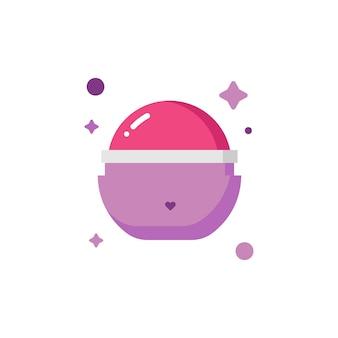 Geïsoleerde schattige ronde vorm lippenbalsem make-up icon set collectio