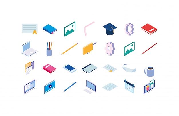 Geïsoleerde school icon set
