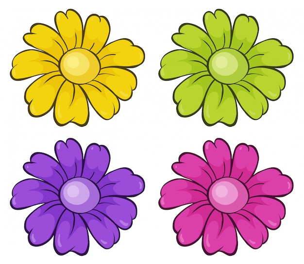 Geïsoleerde set bloemen