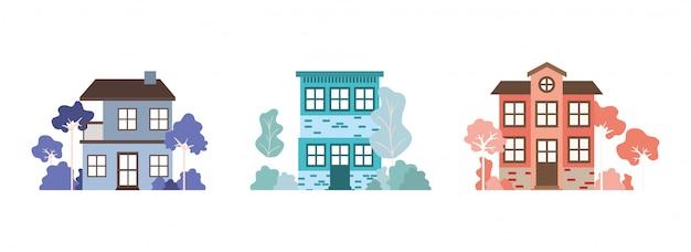 Geïsoleerde set huizen gebouwen