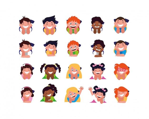 Geïsoleerde set jongens en meisjes tekenfilms
