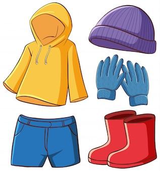 Geïsoleerde set kleding