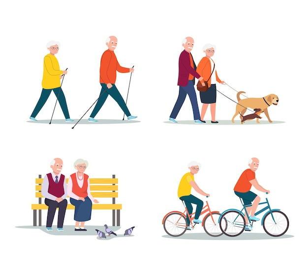 Geïsoleerde set senior vrouw en man lopen, fietsen, zittend op de bank.