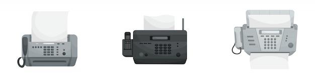 Geïsoleerde set van drie faxapparaten. kantoorapparaten, printers, telefoons.