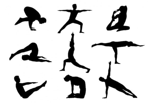 Geïsoleerde silhouetmens in yogahouding