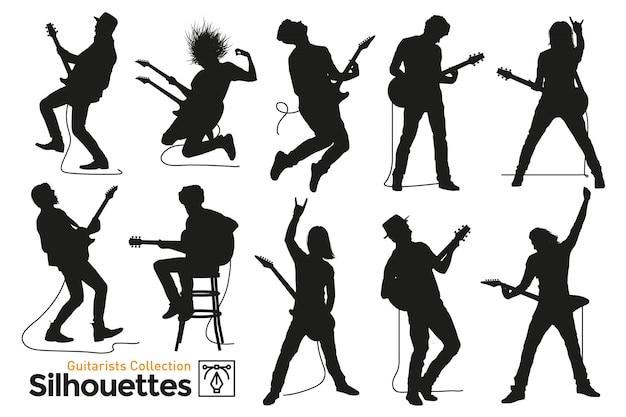 Geïsoleerde silhouetten van gitaristen. muzikanten die gitaar spelen.
