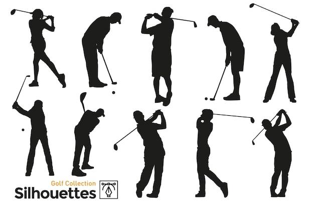 Geïsoleerde silhouetten van golf. spelers die aan sport doen.