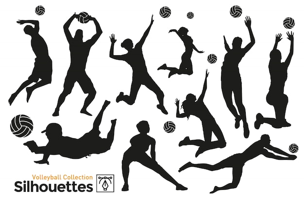 Geïsoleerde silhouetten van volleybal. spelers die aan sport doen.
