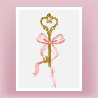 Geïsoleerde sleutel met roze lint aquarel illustratie