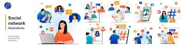 Geïsoleerde sociale netwerkset gebruikers die browsen, plaatsen foto's, reageren op chatten met scènes in plat ontwerp