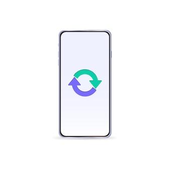 Geïsoleerde telefoon met pijlen op het scherm vectorillustratie