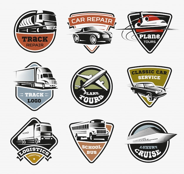 Geïsoleerde transport retro logo's set