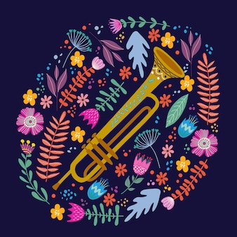 Geïsoleerde trombone en heldere bladeren en bloemen. hand tekenen folk platte doodles vector