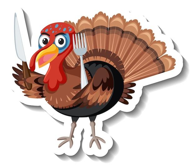 Geïsoleerde turkije sticker op witte achtergrond