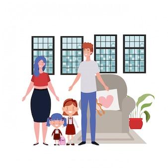 Geïsoleerde vader en moeder met kinderen