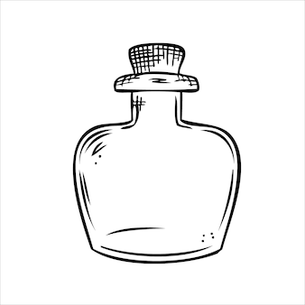 Geïsoleerde vector fles lijntekeningen lege transparante glazen flacon fles jar