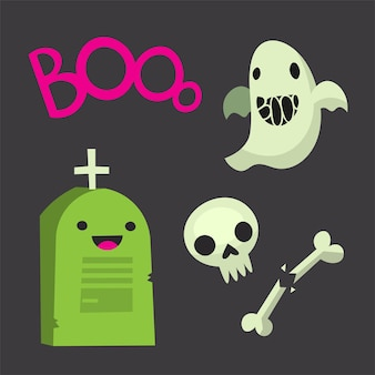 Geïsoleerde vector halloween afbeeldingen stickers grafsteen met kruis gebroken botten schedel en ghost