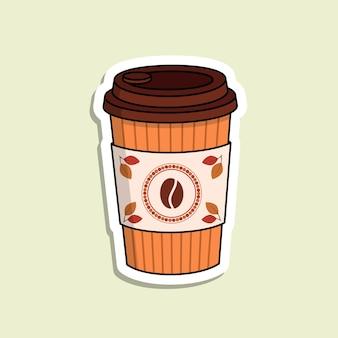 Geïsoleerde vector koffie papier beker op de lichtgroene achtergrond. koffieboon logo met rood cirkelframe. kleurrijke verpakkingen voor coffee to go. cartoon sticker in herfstkleuren