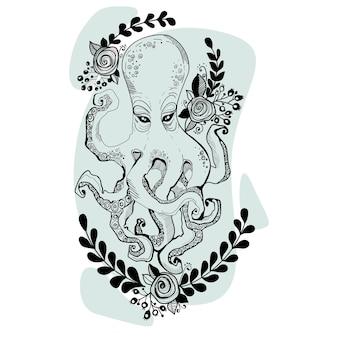 Geïsoleerde vectorillustratie van zwart-wit grafische octopus met rozen