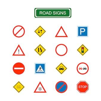 Geïsoleerde verkeersborden voor elk doel. waarschuwingsbord, driehoek. verkeers- en informatiepictogrammen.