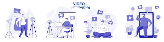 Geïsoleerde videoblogset in plat ontwerp mensen nemen video's op bloggers maken bloginhoud