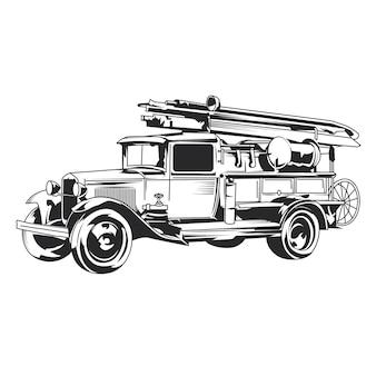 Geïsoleerde vintage brandweerwagen hand getrokken illustratie.