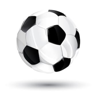 Geïsoleerde voetbalbal, voetbalbal met zwart-witte gebieden, vectorillustratie.