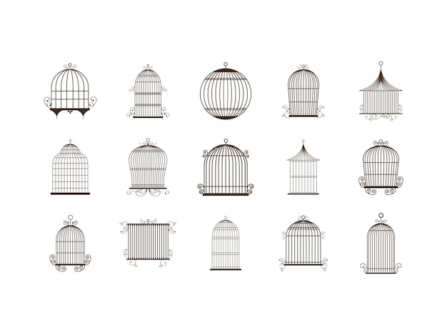 Geïsoleerde vogelkooi icon set