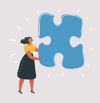 Geïsoleerde vrouw met grote puzzel op white