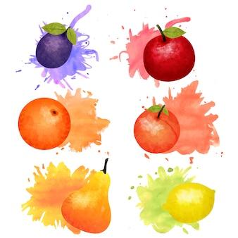 Geïsoleerde vruchten en bessenwaterverf die met kleurrijke vlekken wordt geplaatst